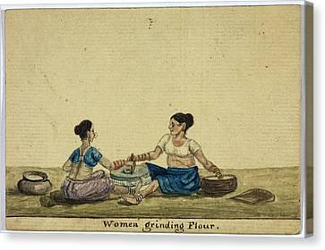 Women Grinding Flower Canvas Print