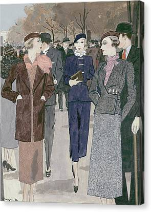 Women In A Park Canvas Print by Pierre Mourgue