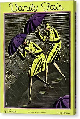 Women In The Rain Canvas Print