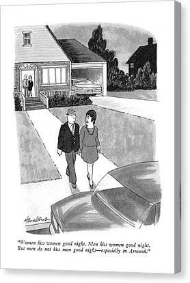 Women Kiss Women Good Night.  Men Kiss Women Good Canvas Print by J.B. Handelsman