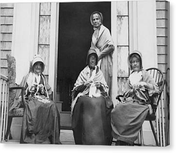 Women Knitting On A Porch Canvas Print by Underwood Archives