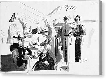 Women Lunching In A Tent Canvas Print by Jean Pages