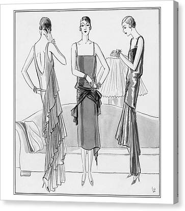Women Model Evening Dresses Canvas Print
