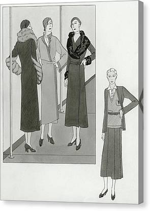Women Modeling Designer Clothing Canvas Print by Polly Tigue Francis