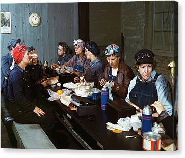 Women Railway Workers At Lunch Canvas Print