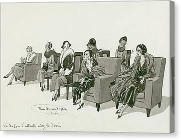 Women Sitting In A Waiting Room Canvas Print