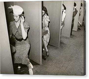 Women Taking Hearing Tests Canvas Print by New York World's Fair/new York Public Library
