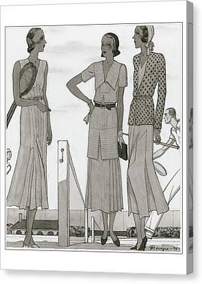 January Canvas Print - Women Wearing Designer Dresses by Pierre Mourgue