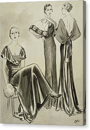 Women Wearing Dresses By Mainbocher Canvas Print by Creelman