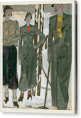 January Canvas Print - Women Wearing Mainbocher And Knize by Pierre Mourgue