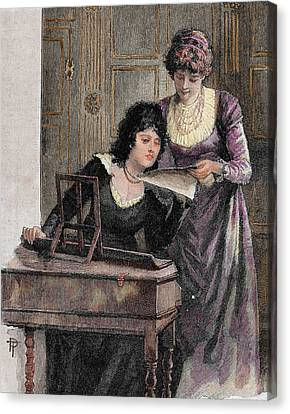 Women With A Harpsichord Canvas Print by Prisma Archivo