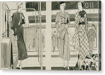 Women With Dogs By A Car Canvas Print