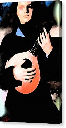 Canvas Print featuring the painting Women With Her Guitar by Colette V Hera  Guggenheim