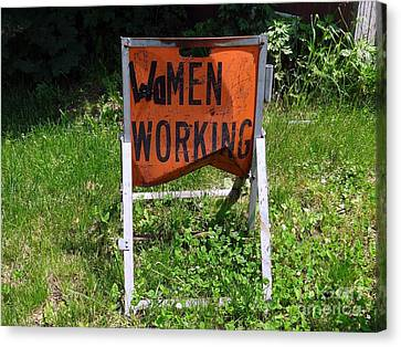 Canvas Print featuring the photograph Women Working by Ed Weidman