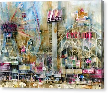 Wonder Wheel And Cyclone At Coney Island Canvas Print by Dorrie Rifkin