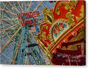Canvas Print featuring the photograph Wonder Wheel - Coney Island by Vicki DeVico