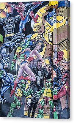 Canvas Print featuring the mixed media Wonder Woman Abstract by Terry Rowe