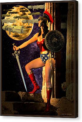 Dc Universe Canvas Print - Wonder Warrior Vs Alien Armada  by Jon Volden