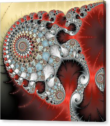 Wonderful Abstract Fractal Spirals Red Grey Yellow And Light Blue Canvas Print