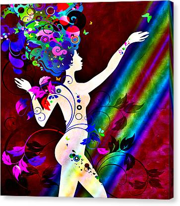 Wonderful At The End Of The Rainbow Canvas Print by Angelina Vick