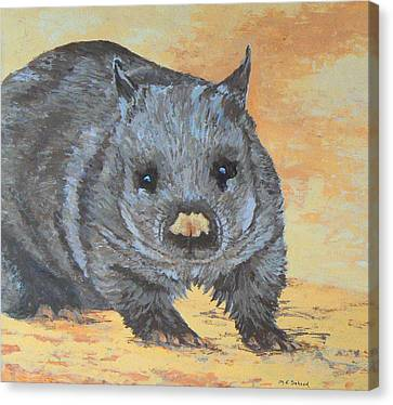 Canvas Print featuring the painting Wonderful Wombat by Margaret Saheed