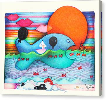 Woobies Character Baby Art Colorful Whimsical Whale Design By Romi Neilson Whale Canvas Print by Megan Duncanson