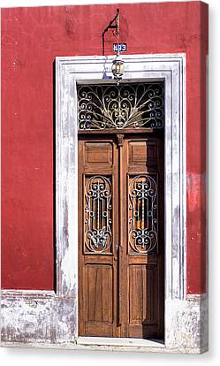 Wood And Wrought Iron Doorway In Merida Canvas Print by Mark E Tisdale