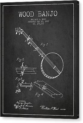 Wood Banjo Patent Drawing From 1887 - Dark Canvas Print