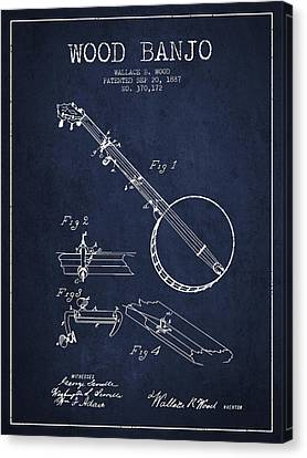 Wood Banjo Patent Drawing From 1887 - Navy Blue Canvas Print by Aged Pixel