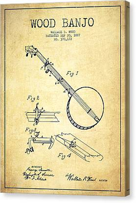 Wood Banjo Patent Drawing From 1887 - Vintage Canvas Print by Aged Pixel