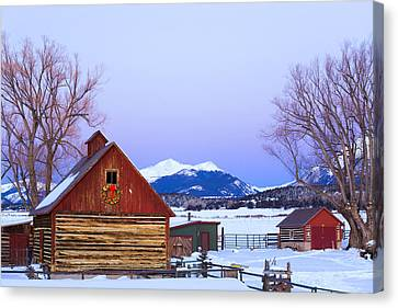 Wood Barn Wlighted Holiday Wreath & Canvas Print by Michael DeYoung