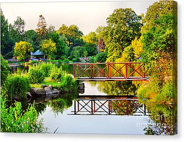 Wood Bridge Reflection Canvas Print by Judy Palkimas