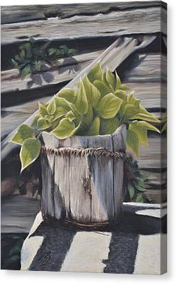 Wood Bucket - Pastel Canvas Print