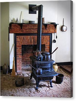 Wood Burning Stove Canvas Print by Dave Mills