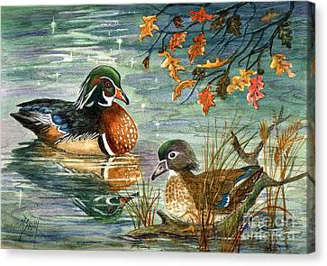 Wood Duck Canvas Print - Wood Duck Pair by Marilyn Smith