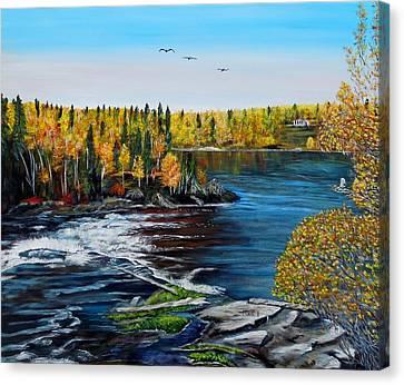 Wood Falls  Canvas Print by Marilyn  McNish