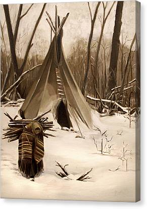 Wood Gatherer Canvas Print by Nancy Griswold