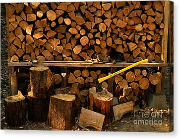 Woodpile Canvas Print - Wood Pile by Ron Sanford