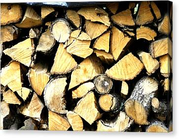 Wood Stack Canvas Print by Georgia Fowler