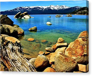Wood Stone Water Canvas Print by Benjamin Yeager
