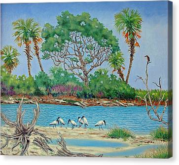 Wood Stork Beach Party Canvas Print