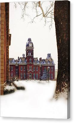 Woodburn Blowing Snow Canvas Print by Dan Friend