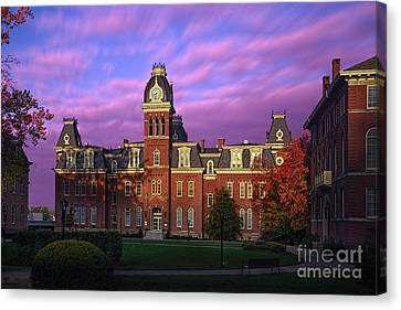 Woodburn Hall In Morning Pink Sky Canvas Print by Dan Friend