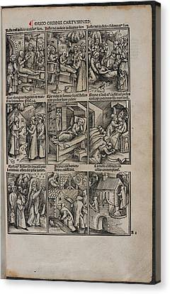 Woodcuts Of Priest's Activities Canvas Print