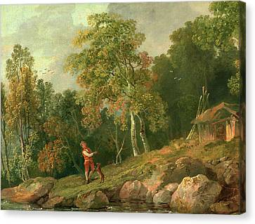 Wooded Landscape With A Boy And His Dog, George Barret Canvas Print by Litz Collection