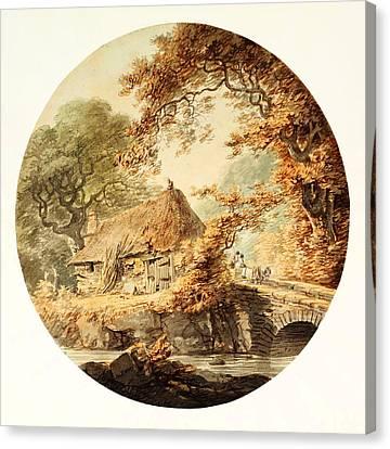 Wooded Landscape With A Cottage Beside A Bridge Canvas Print