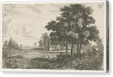 Wooded Landscape With Carriage, Hermanus Jan Hendrik Van Canvas Print by Hermanus Jan Hendrik Van Rijkelijkhuysen