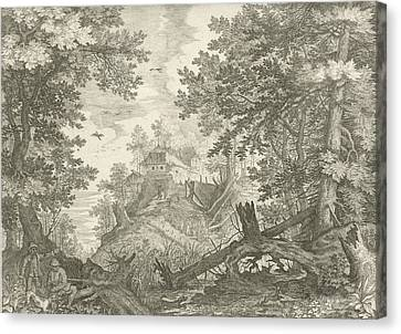 Wooded Landscape With Two Hunters And A Dog Canvas Print by Aegidius Sadeler And Roelant Savery