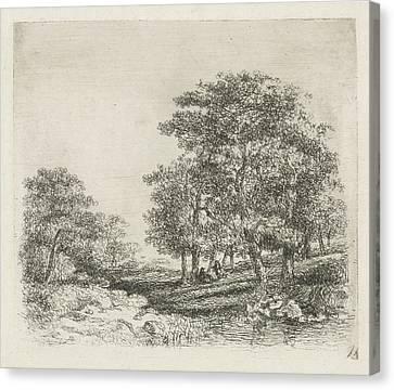 Wooded Landscape With Two Men Conversing Canvas Print by Hermanus Jan Hendrik Van Rijkelijkhuysen