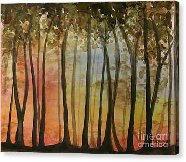 Wooded Sunset Canvas Print by Bev Arnold